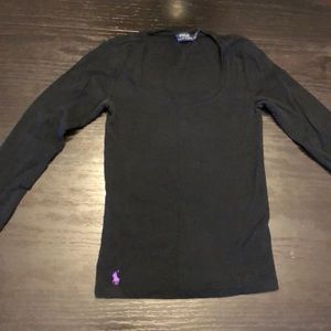 Long sleeve black polo shirt